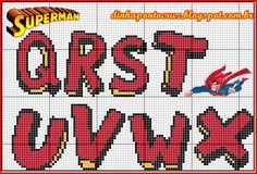 Superman alphabet Q-X Counted Cross Stitch Patterns, Cross Stitch Designs, Cross Stitch Embroidery, Cross Stitch Letters, Cross Stitch Boards, Plastic Canvas Letters, Graffiti Lettering, Embroidery Fonts, Canvas Patterns