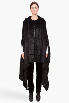 mandy coon faux fur long black cape