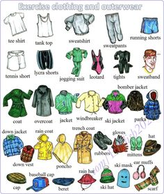 Vocabulary: Exercise clothing and outerwear