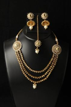 Indian Bollywood Fashion Jewelry Handcrafted Polka Stylish Necklace Earring Set