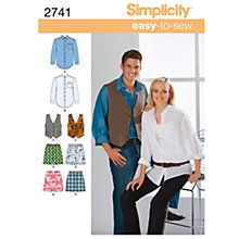9f47fcfdc5e Tie and Hairband Chest XL-XXXL Simplicity Creative Patterns Simplicity  Easy-To-Sew Pattern 5443 Womens and Mens Scrub Top Jacket in 2 Lengths Pants