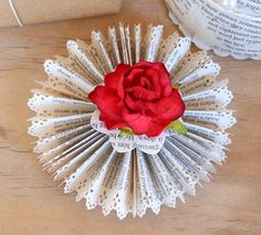 Old book paper rosette as Christmas decoration.