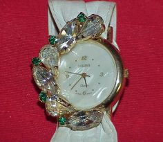 Stunning SOLINA Green Clear Crystal MOP Face Gold Tone Quartz Watch Japan Movt #Solina #Fashion
