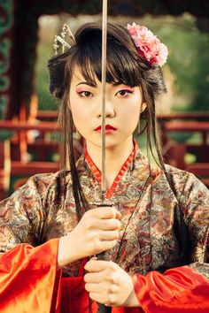 Beautiful geisha in kimono with samurai sword by Dmytro Gilitukha on 500px