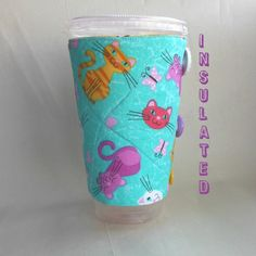 Cat Coffee sleeve Kitten Cup cozy hot or cold by DeegeeMarieGifts