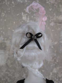 Silk white decorated rococò WIG for DOLL by isadorasatelier