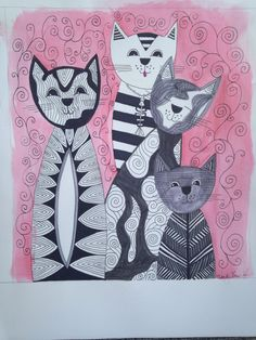 Zentangle cat drawing with color