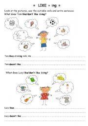 English worksheet: LIKE + ing