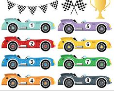 Digital clipart - Vintage Racing Cars for scrapbooking, paper crafts invitation cards making, invitations, only FOR PERSONAL USE Race Car Party, Race Cars, Fire Crafts, 2nd Birthday Party For Boys, Car Themes, Vintage Race Car, Custom Cards, Scrapbook Paper, Card Making