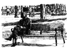 Anciano leyendo en el Parque del Oeste (madrid). bolígrafo negro. Tamaño A4.