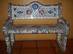 mosaic bench in Mexico—someday I will make one of these ...