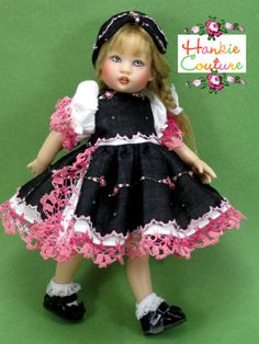 Fancy Dance for Riley Kish by Hankie Couture ♡ Black with pink edging ♡ http://hankiecouture.com ♡ #hankiecouture
