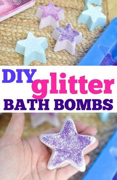 DIY Star Darlings Glitter Bath Bombs - Make your own bath bombs at home with simple ingredients and essential oils . add a bit of fun with glitter! Bath Boms Diy, Glitter Bath Bomb, Small Bathroom Organization, Organization Ideas, Bathroom Storage, Storage Ideas, Bomb Making, Bath Bomb Recipes, Soap Recipes
