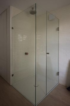Clear glass bespoke shower cubicle with brushed stainless steel hinges. Installed in London by Creative Glass Studio. Framed Shower Door, Add A Bathroom, Glass Shower, Frameless Sliding Shower Doors, Small Space Bathroom, Locker Storage, Frameless Shower Enclosures, Bathrooms Remodel, Bathroom Design