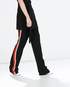 Image 3 of PAJAMA-STYLE TROUSERS WITH SIDE STRIPES from Zara