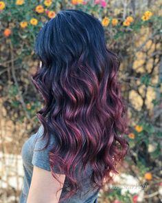 15 Best Maroon Hair Color Ideas of 2019 - Dark, Black & Ombre Colors Maroon Hair Colors, Violet Hair Colors, Vibrant Hair Colors, Bright Red Hair, New Hair Colors, Cool Hair Color, Maroon Highlights, Black Hair With Highlights, Hair Color Highlights