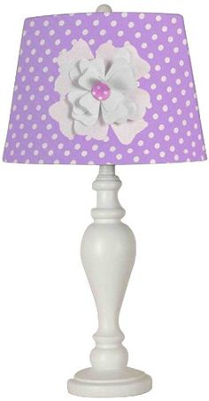 CREATIVE MOTION 24.5-INCH PURPLE SHADE WITH FLOWER DESK LAMP   - Click image twice for more info - See a larger selection of kids table lamps at http://tablelampgallery.com/product-category/kids-table-lamps/ - home, home decor, home ideas, desk lamp , gift ideas, lightning, lamp, kids lamp