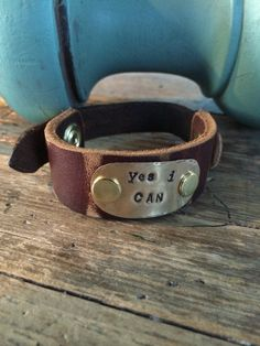 Recycled Leather Cuff Bracelet with Brass Plate von TheRustyOwls