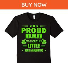 Mens PROUD DAD OF THE WORLD'S BEST LITTLE SONS AND DAUGHTERS Large Black - Relatives and family shirts (*Amazon Partner-Link)