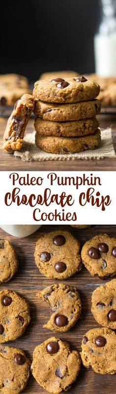 Soft and Chewy Paleo Pumpkin Chocolate Chip Cookies with a hint of warm cinnamon and pumpkin pie spice. Paleo Sweets, Paleo Dessert, Gluten Free Desserts, Healthy Desserts, Dessert Recipes, Healthy Eats, Healthy Recipes, Paleo Chocolate Chip Cookies, Paleo Cookies