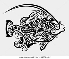 Decorative fish 2 beautiful animal decoration, floral and leaf decorative style