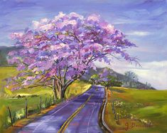 Giclee Print of Original Oil Painting Landscape Trees Tropical Maui Purple Impressionist Fine Art 16x20 Upcountry in Bloom This print is a reproduction of the original painting of a beautiful road in Upcountry Maui. The Jacaranda trees line the curvy roads through fields of green. Its a great way to spend the day. 16x20 with white border for easy framing and matting High quality giclee print on beautiful matte rag paper Whereas colors may vary on your monitor, every effort has been made t...