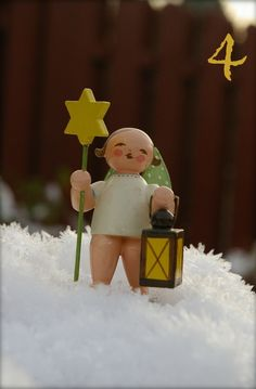 Wendt and Kuehn Grunhainichen Angel with Star and Lantern.  Finely hand-crafted in Germany. FIND at www.mygrowingtraditions.com