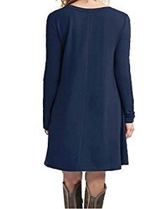 f59a9c2d1e DEARCASE Women s Long Sleeve Casual Loose T-Shirt Dress at Amazon Women s  Clothing store