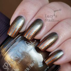 Lucy's Stash - Gradient tape manicure with Sparitual Slate and Gold collection