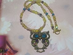 Owl Necklace  Mulitcolor Beaded  18 by cynhumphrey on Etsy, $18.99