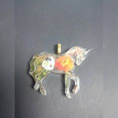 Einhorn Anhänger mit echten Blumen Unicorn Resin with real