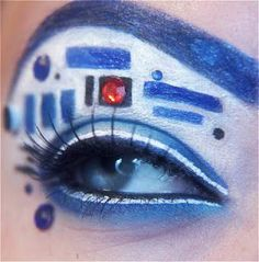 My mom is a star wars fan and she thought this was from Doctor Who. -_- Amazing Eye Makeup Design - Insane for every day make-up but perfect for Star Wars Celebration V Star Wars Film, Geek Girl Fashion, Makeup Fx, Makeup Ideas, Nerdy Makeup, Robot Makeup, Makeup Geek, Rave Makeup, Makeup Bord