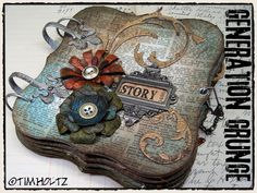 Generation Grunge bracket mini album by Tim Holtz. Simple Pleasures Stamps and Scrapbooking. Handmade Journals, Handmade Books, Handmade Cards, Mini Scrapbook Albums, Scrapbook Paper, Scrapbooking Ideas, Tim Holtz, Timmy Time, Shabby