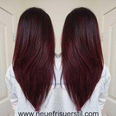 Geschichtete Dunkle Rote Lange Haare