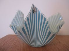 "Very rare 1960s vintage 7"" Chance handkerchief vase - Blue Marquee / Candystripe 