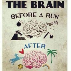 Running Humor #38: The brain before and after a run. - Unicorn and Rainbows.