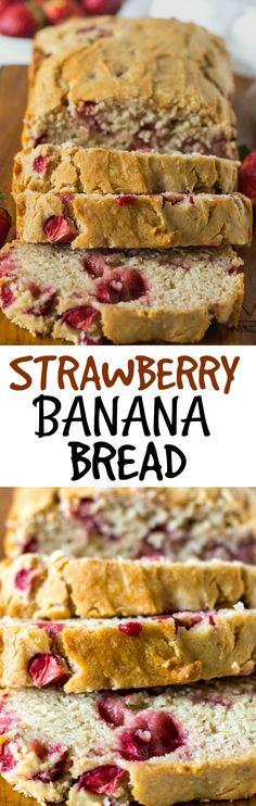 Strawberry Banana Bread (Vegan, Gluten-Free) #strawberries #vegan #gluten-free #bananabread #banana