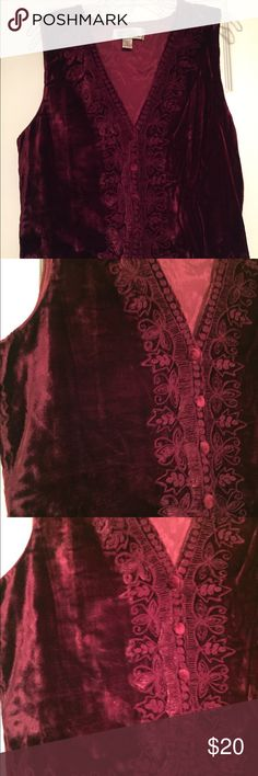 Karen Scott Velvet Vest Embroidered velvet vest in a deep cranberry color with four covered buttons and a tie waist in back. The crushed velvet look, 100% rayon. Great with pants or skirts. Karen Scott Jackets & Coats Vests