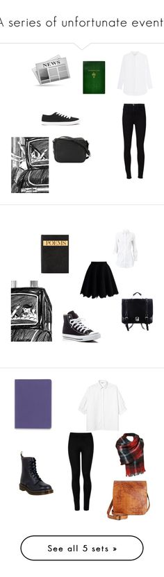 """A series of unfortunate events"" by pidgethegreatest ❤ liked on Polyvore featuring Frame, Jadicted, Sonia Rykiel, Forever 21, Sloane Stationery, Chicwish, Smythson, Alaïa, Converse and Wolford"
