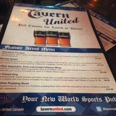 Cover of menu at Tavern United Brandon  |  1125 18th Street, Brandon, Manitoba