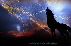 Wolf and lightning