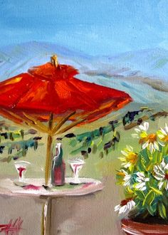 Wine in Sonoma, painting by artist Delilah Smith