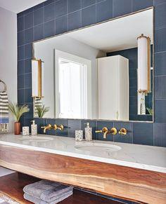 "Luxe Interiors + Design on Instagram: ""Going gaga for this wood vanity. #LuxeAtHome. @sandow | Photography: @mikeyschwartz; Architecture: @morgantewilson; Interior Design:…"" Steel Railing, Upstairs Bathrooms, Wood Vanity, Architect Design, Interior Design Services, Inspired Homes, Great Rooms, Exterior Design, Interior Architecture"