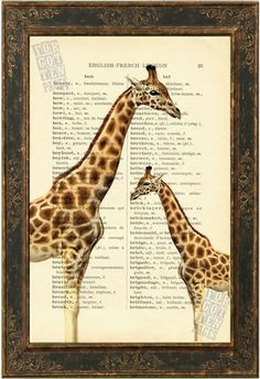 Giraffes Print on 1900's English French Lexicon by ForgottenPages, $8.00