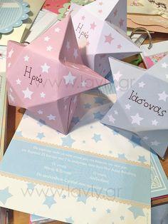 baptism invitation and favor box star shaped!