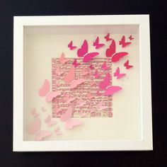 Handmade Pink Ombre Butterfly Shadow Box