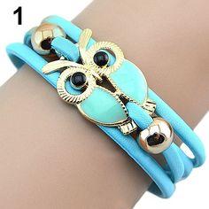 Attractive Braided Bracelet Handmade Vintage Multi-layer Bangle Chain Fashion Owl Bracelets 75A1