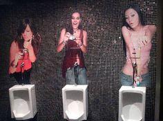 Urinals in the men's bathroom of Zeta Bar, Kuala Lumpur.