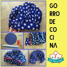 GORRO DE COCINERO (KIT DE COCINERO- VOL 1) Scrub Hat Patterns, Hat Patterns To Sew, Scrub Hats, Sewing Techniques, Happy Mothers, Diy Clothes, Little Girls, Sewing Projects, Embroidery