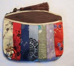 Bright colorful silk strips pouch, bag, purse, it holds cards, cash, coins and cell phone by Freeclothart for $5.00